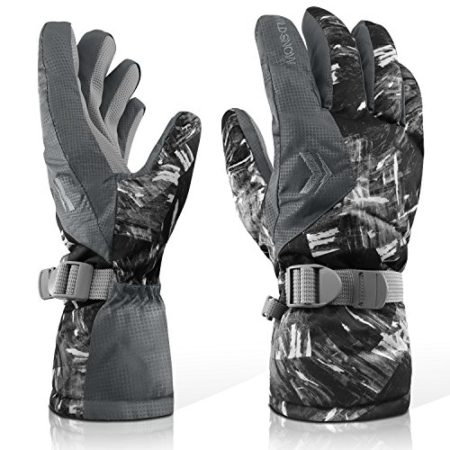 Ubenmart Winter Ski Gloves, Warm Gloves with Adjustable Cuffs, Breathable, Hydrophobic Surface Keep Hands Dry while Engaging in Snowboard, Outdoor Cycling Snow Shoveling, Buckle for Joining Together