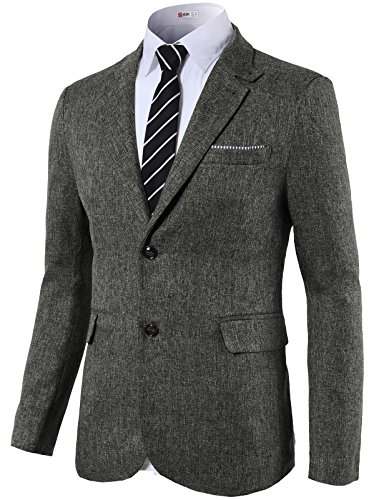 H2H Mens Casual Slim Fit Mandarin Collar Jackets Single Breasted CHARCOAL US L/Asia XL (KMOJA0290) Image