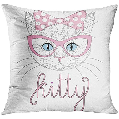 Starotor 18x18 Inch Throw Pillow Covers Decorative Case Cute Anthropomorphic Kitty Portrait with Pin Up Bow on Head Cat Face Cheerful Cover Square Pillowcase Cushion Cases Print On Two Sides
