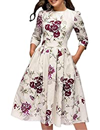 Women's Floral Vintage Dress Elegant Autumn Midi Evening...