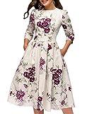 Simple Flavor Women's Floral Vintage Dress Elegant Autumn Midi Evening Dress 3/4 Sleeves (Beige, S)