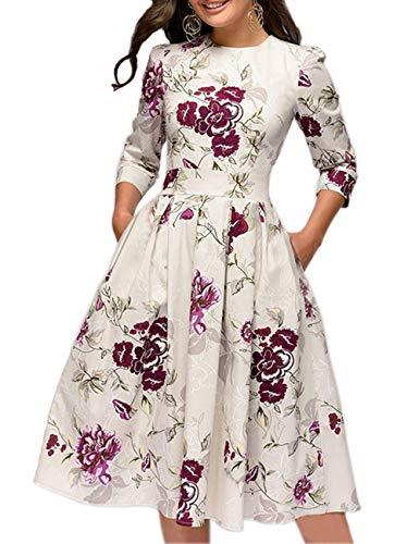 Simple Flavor Women's Floral Vintage Dress Elegant Autumn Midi Evening Dress 3/4 Sleeves (Beige, L)