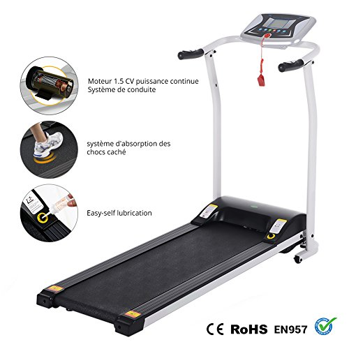 Folding Electric Treadmill Running Machine Power Motorized for Home Gym Exercise Walking Fitness (1.5 HP - White - Not Incline) by ncient (Image #1)