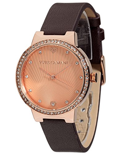 Yves Camani Toulon Women's Wrist Watch Quartz Analog Rosegold Dial Rosegold Stainless Steel Casing Brown Leather Strap
