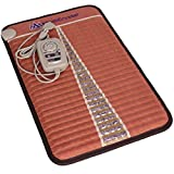 Far Infrared Amethyst Mat Mini (32'L x 20'W) - Negative Ion - FIR Heat - Jewelry Natural Amethyst - FDA Registered Manufacturer - Adjustable Temperature Setting - Hot Stone Heating Pad - Reddish Brown