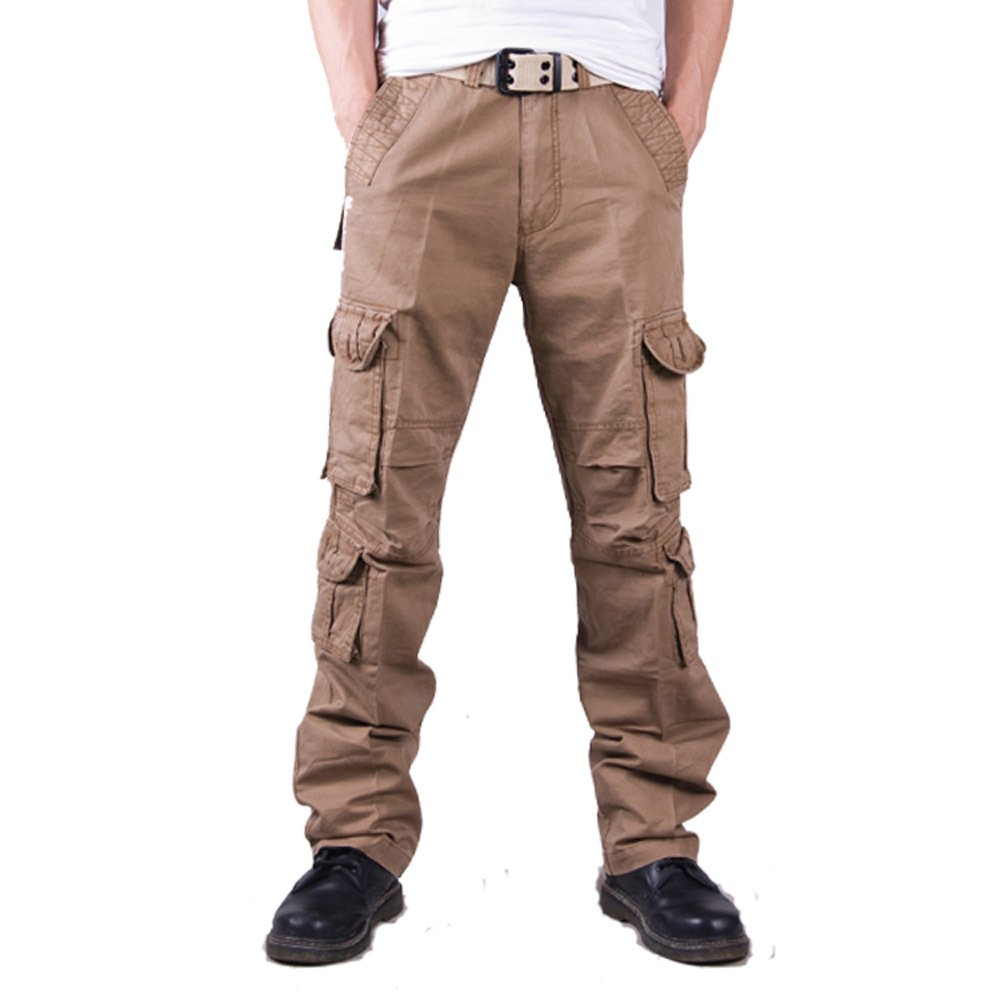 Mens Wild Cargo Pant Cotton Cargo Trousers Army Military Outdoor Trouser Relaxed Fit Casual Cargo Work Pants for Men (Khaki,34)