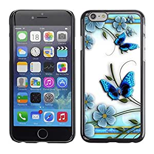 TECHCASE**Cubierta de la caja de protección la piel dura para el ** Apple iPhone 6 Plus 5.5 ** Butterfly White Floral Flower Petal