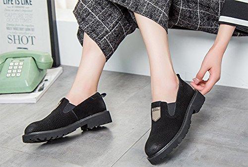 Aisun Damen Britisch Stil Rund Zehe Loafers Low-Top Ohne Verschluss Slippers Schwarz 36 EU XNs3a