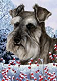 Schnauzer Grey Uncropped – Best of Breed Winter Berries Large Flag