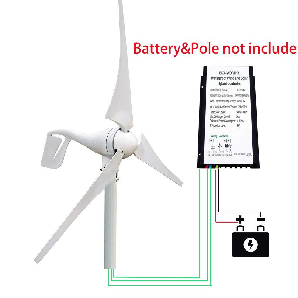 Eco Llc 400w Dc 12v 24v Wind Turbine Generator With Wiring Schematic Solar Hybrid Controller Idal For Power Supply System Windy