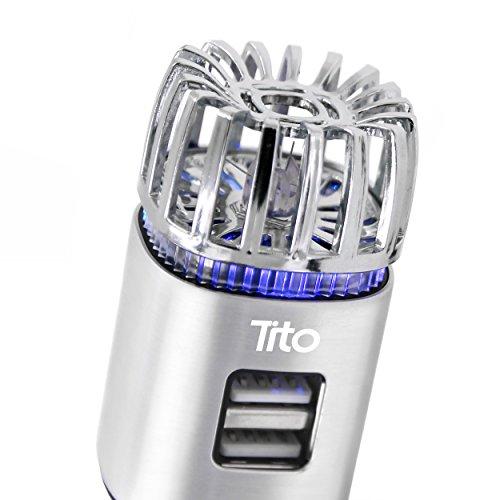 Tito's Dynamic Multipurpose Car Air Purifier, Ionizer, and Anti-Microbial Deodorizer w/Powerful 2.1 Amp Dual USB Port
