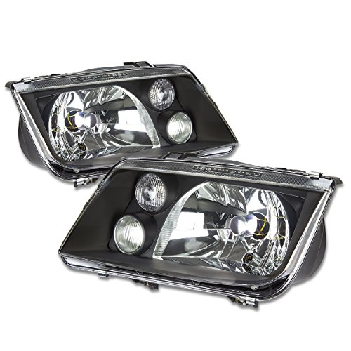 / Bora A4 Typ 1J Pair of OE Style Black Housing Headlight w/ Fog Light (99 Vw Volkswagen Jetta Headlight)