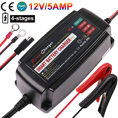 12V 5A Trickle Battery Charger, Battery Maintainer for Car, Automobile, Motorcycle, Lawnmower, Marine, Boat, ATV, RV, UTV, Ride-on Toy, SLA, GEL, VRLA, Wet, Sealed Lead Acid, AGM Battery Charger (Motorcycle Battery Tender Charger)