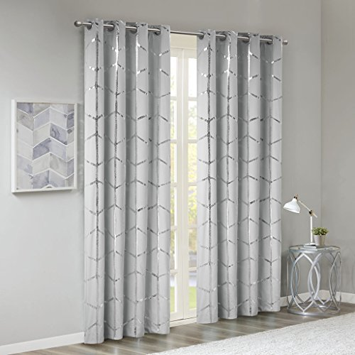 Madison Park Raina Total Blackout Metallic Print Grommet Top Window Curtain Panel Thermal Insulated Light Blocking Drape for Bedroom Living Room and Dorm, 50x84, Grey/Silver (Silver Grey Curtains)