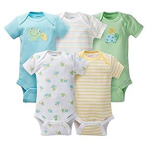 Gerber Unisex-Baby 5 Pack Onesie set - Turtle & frog