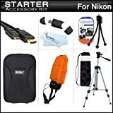 Starter Accessories Kit For The Nikon COOLPIX AW100 Waterproof Digital Camera Includes Deluxe Carrying Case + 50-inch Tripod With Case + Mini HDMI Cable + USB 2.0 Card Reader + FLOAT STRAP + Mini TableTop Tripod + MicroFiber Cleaning Cloth