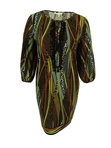 Spense Women's 3/4 Sleeves Front Keyhole Dress (18W, Multi) (Sleeve 3/4 Spense)
