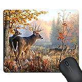 SSOIU Gaming Mouse Pad Deer Hunting Season Custom Design Large Mat, Autumn Nature Deers Scene Mouse Pads