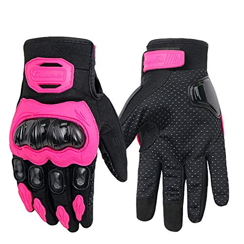 Ocamo Unisex Motorcycle Gloves Summer Breathable Moto Riding Protective Gear Non-slip Touch Screen Guantes Pink L ()