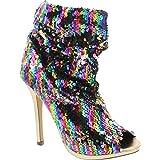Liliana Maxim-12 Multi Color Sequins Peep Toe High Heel Above Ankle Bootie,Rainbow,9