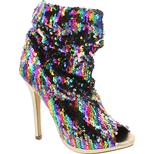 ti Color Sequins Peep Toe High Heel Above Ankle Bootie,Rainbow,10 ()