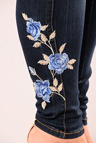 Pantaloni Lunghi Vita Ricamati Scuro Elastici Push Oudan Colore Blu Alta Up Casuali Donna Jeans wZA6qU8