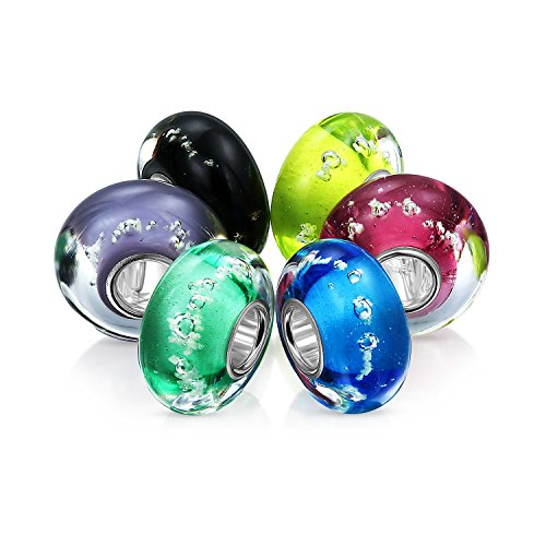- Multi Color Glow in the Dark Murano Glass Set of 6 Sterling Silver Spacer Bead Fits European Charm Bracelet For Women