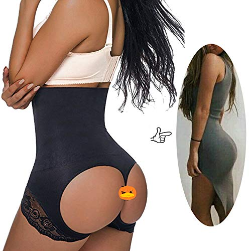 Jason&Helen Women's Butt Lifter Shaper Seamless Tummy Control Hi-Waist Thigh Slimmer Black Medium/Large