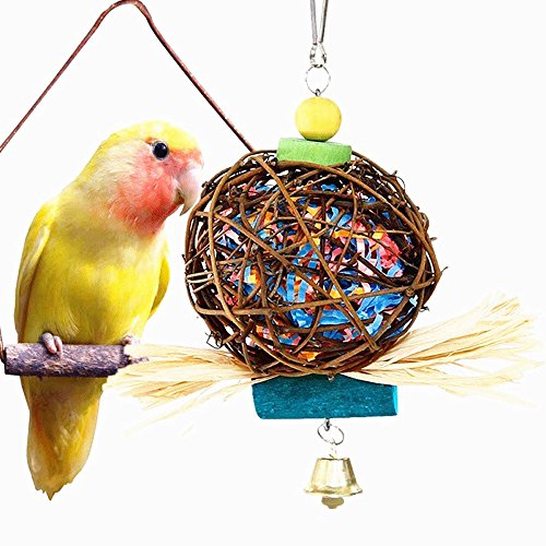 GaoX-H Parrot Chew Toy-Hand-made Chewing Hanging Toy Rattan Ball Toy for Bird Parrot Parakeets Macaws Cockatoos Chinchillas Lovebird Color Random Bird Toys
