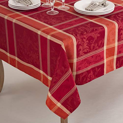 N2 1 Piece 70x104 Red Oblong Plaid Tablecloth, Orange Cabin Lodge Theme Table Cloth, Floral Rugby Lumberjack Stripe Madras Pattern Flowers Square Checkered Design, Fall Thanksgiving Season, Polyester ()