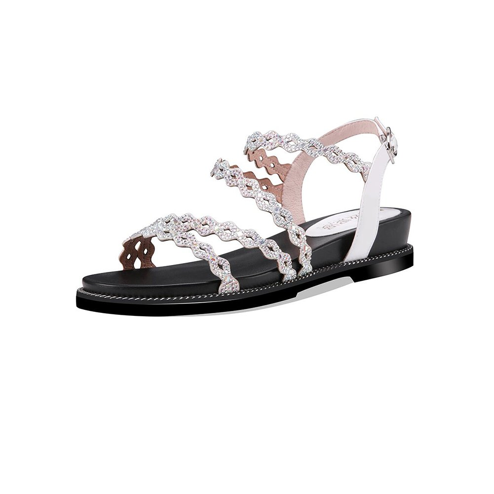 blanc MKJYDM Chaussures pour Femmes Chaussures Plates Sandales Pantoufles décoratives décoratives Strass Fashion Simple Sandales à Talons (Couleur   noir, Taille   EU 39 UK6 CN 39)  bas prix