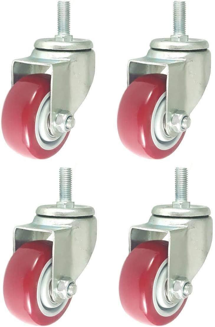 4 Pack Caster Wheels Swivel Stem On Red Polyurethane Wheels (4 inch stem)
