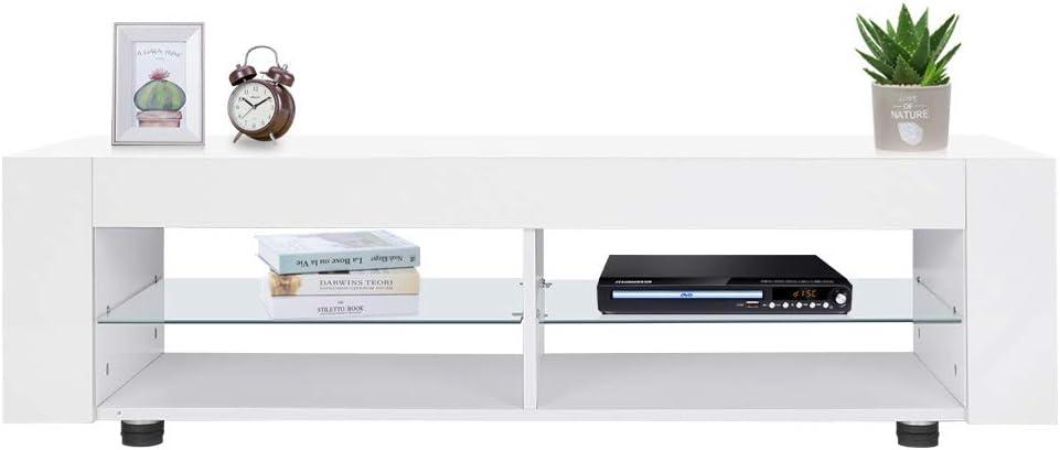 GOTOTO - Mueble para televisor de diseño Blanco con iluminación LED de 16 Colores, Mueble de TV bajo Banco de TV, 134 x 39 x 29 cm: Amazon.es: Hogar
