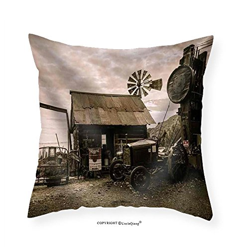 VROSELV Custom Cotton Linen Pillowcase Jerome Arizona Ghost Town Mine Windmill Wild Western - Fabric Home Decor - Arizona Directions Mills