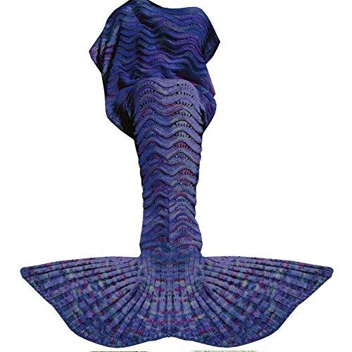 Price comparison product image Fu Store Mermaid Tail Blanket Crochet Mermaid Blanket for Adult, Super Soft All Seasons Sofa Sleeping Blanket, Cool Birthday Wedding, 71 x 35 Inches, Blue