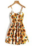 Withchic Random Sunflower Print Crisscross Back A Line Cami Dress