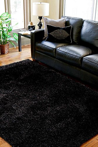 Black Shaggy Shag Area Rug 8x10 High End Designer Quality Flokati High Pile Soft Iridescent Sheen Ultra Plush Living room Bedroom 2005