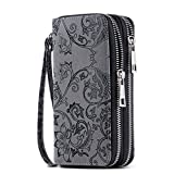 HAWEE Cellphone Wallet Dual Zipper Wristlet Purse with Credit Card Case/Coin Pouch/Smart Phone