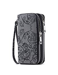 HAWEE Cellphone Wallet Dual Zipper Wristlet Purse with Credit Card Case/Coin Pouch/Smart Phone Pocket Soft Leather for Women or Lady, Black Grey Flower