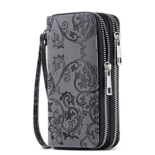 HAWEE Cellphone Wallet Dual Zipper Wristlet Purse with Credit Card Case/Coin Pouch/Smart Phone Pocket Soft Leather for Women or Lady, Black Grey Flower ()