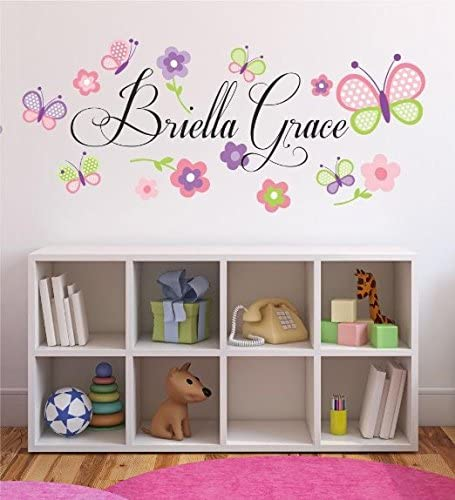 PERSONALIZED NAME BUTTERFLIES GIRL NURSERY BEDROOM Quote Vinyl Wall Decal Decor
