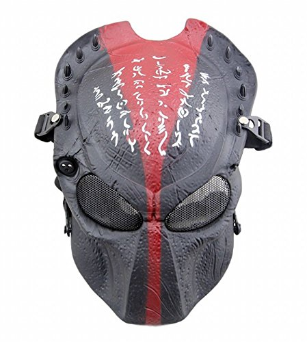 [POJ Japanese Word Design Mask [ BlackRed / BlackYellow / Red bronze / Green bronze ] (BlackRed)] (Green Troll Costumes Contact Lenses)