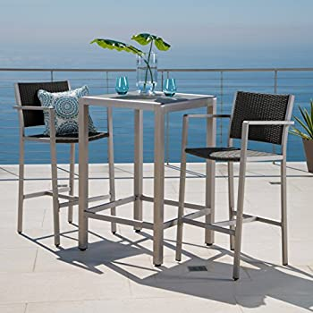 Crested Bay Patio Furniture ~ 3 Piece Grey Outdoor Wicker And Aluminum Bar  Set With Tempered