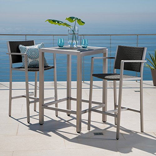 3 Piece Glass Top Table - Crested Bay Patio Furniture ~ 3 Piece Grey Outdoor Wicker and Aluminum Bar Set with Tempered Glass Top