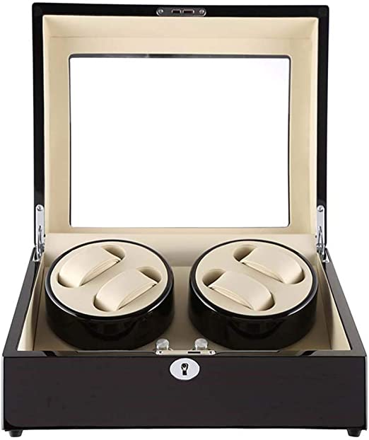 Cajas Giratorias para Relojes Watch Winder Caja Relojes Automaticos Silencioso Enrollador De Reloj 4 + 6 Caja De Almacenamiento De Joyas De Madera Giratoria Silenciosa-Blanco Interior: Amazon.es: Relojes