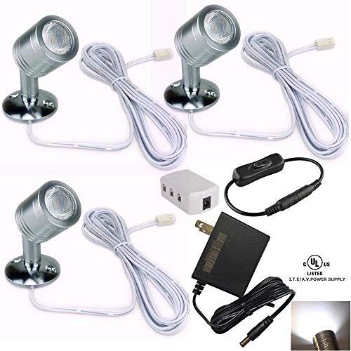 Xking 12V 1W LED Spotlight/Cabinet Light/Jewelry Lamp/Ceiling Light/Display Cabinet Light/Museum/Wall Light - White 6000K (Set of 3)
