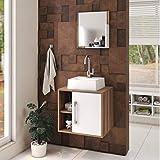Conjunto para Banheiro Gabinete com Cuba Quadrada Q32 e Espelheira Soft 500W Compace