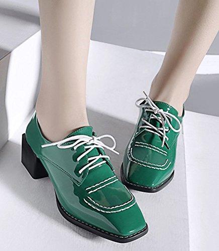 Chunky Toe Up Oxfords Mid IDIFU Classic Square Heels Shoes Women's Lace Green XwTqnxUa4H