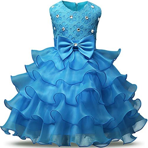 Child Girls Kids Lace Floral Ruffles Princess Performance Formal Dress Light Blue ()