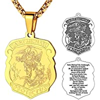 FaithHeart Saint Michael Pendant Stainless Steel St. Michael The Archangel Necklace Jewelry, Gold/Black/Silver